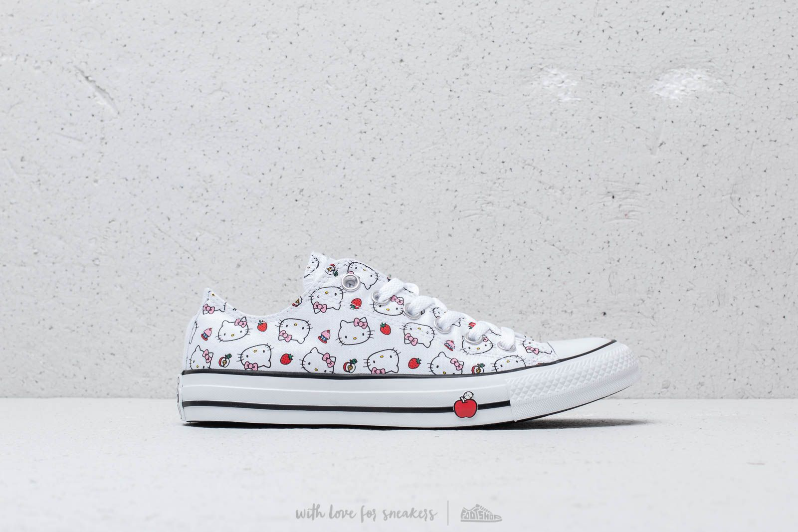 6b4dc2fe4e07b9 Converse x Hello Kitty Chuck Taylor All Star Ox White  Fiery Red  Prism Pink