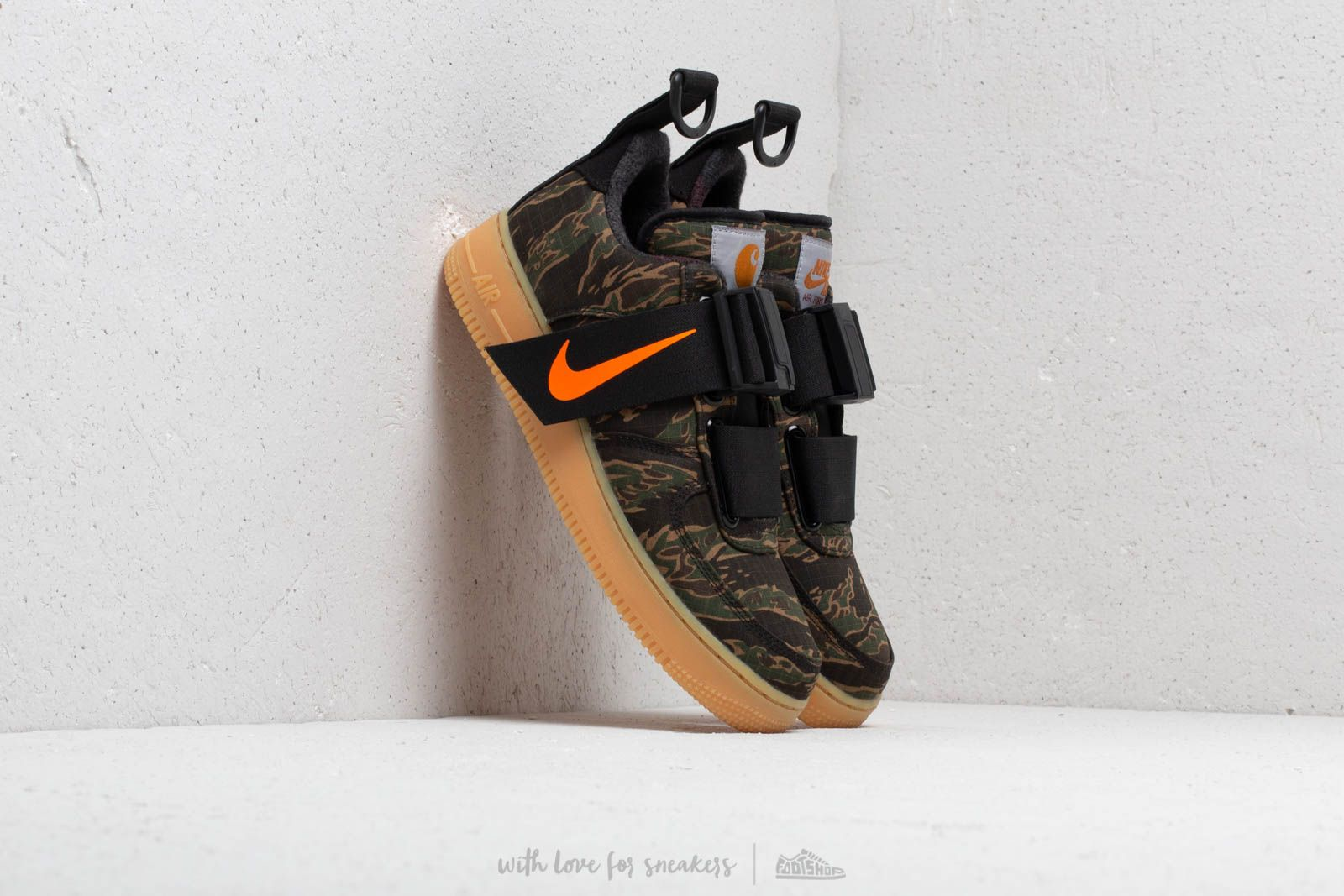 fe294bf7ae2d Nike x Carhartt WIP Air Force 1 UT Low Premium Camo Green  Total Orange at