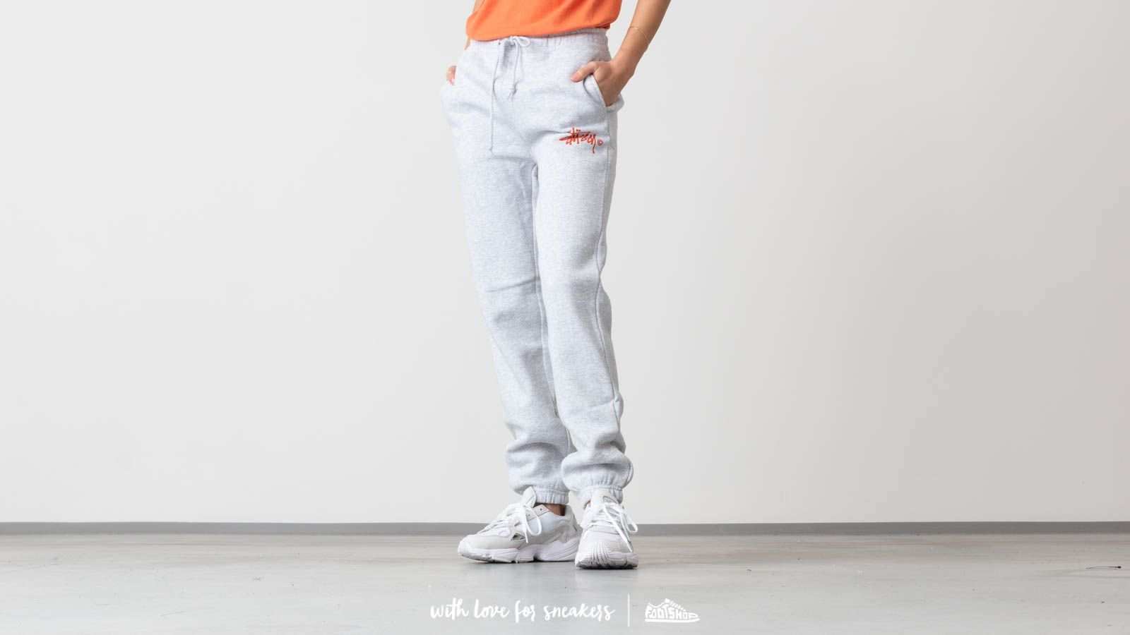 Džíny a kalhoty Stüssy Basic Logo Sweat Pants Ash Heather