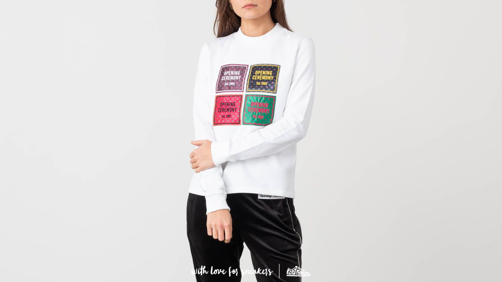 Jope in puloverji Opening Ceremony Medallion Patchwork Sweatshirt White