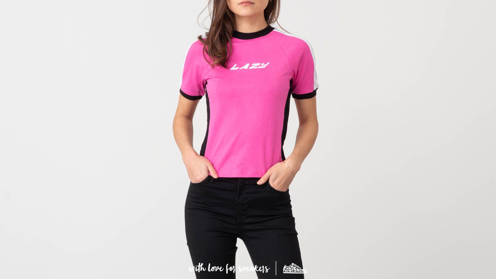 Majice T-shirt Lazy Oaf Lazy Sports Ringer Tee Pink