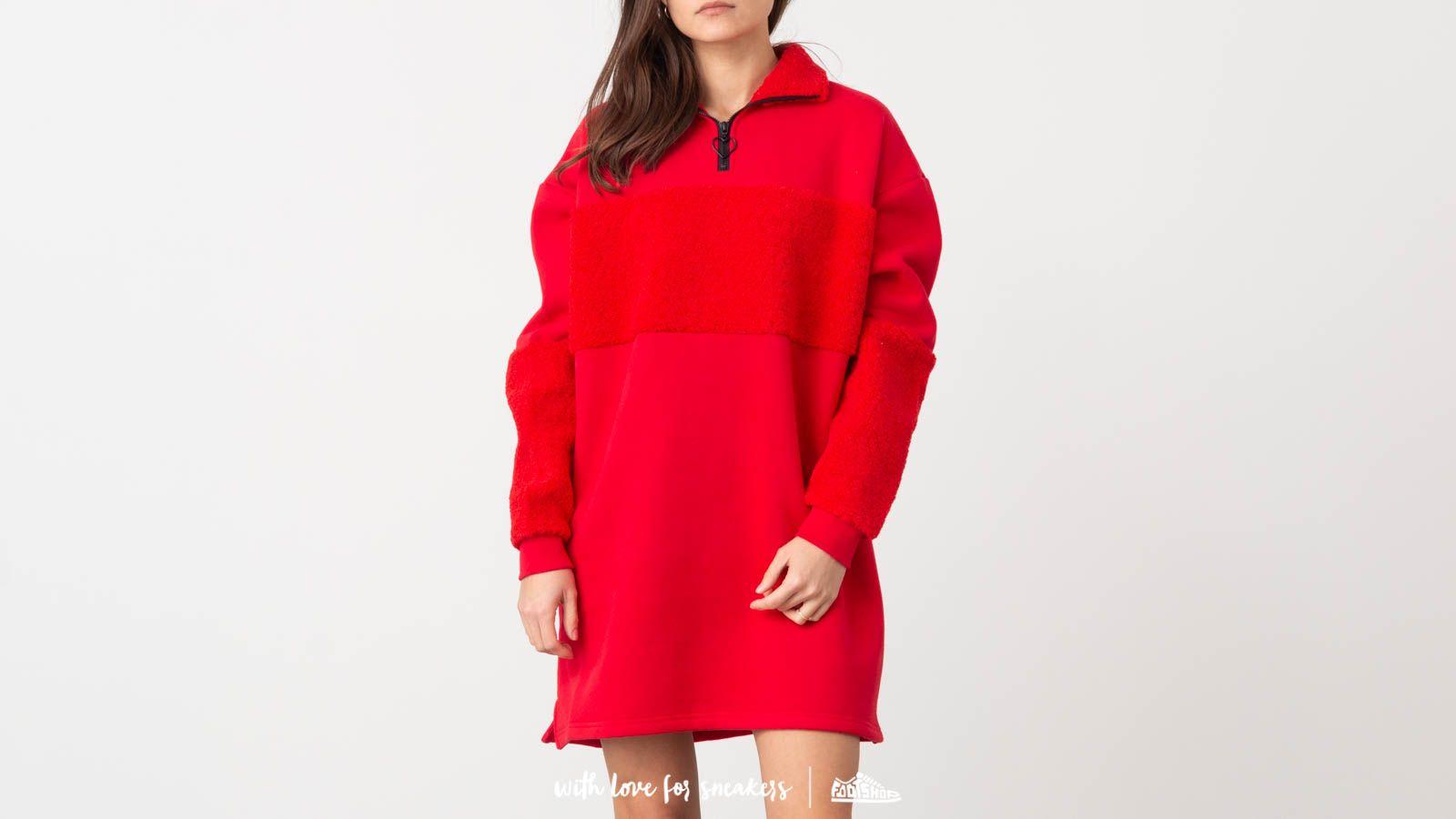 Šaty Lazy Oaf Fleece Panel Sweater Dress Red