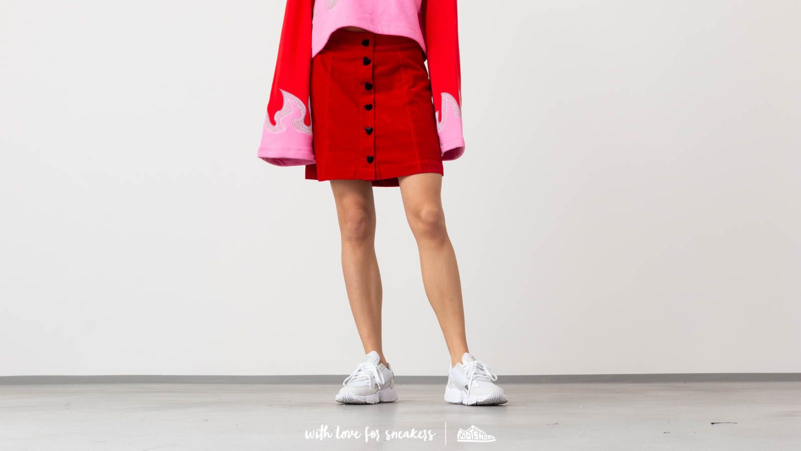 Lazy Oaf Heart Button Velvet Skirt
