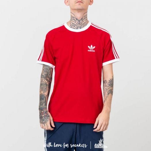 3 stripes adidas shirt red