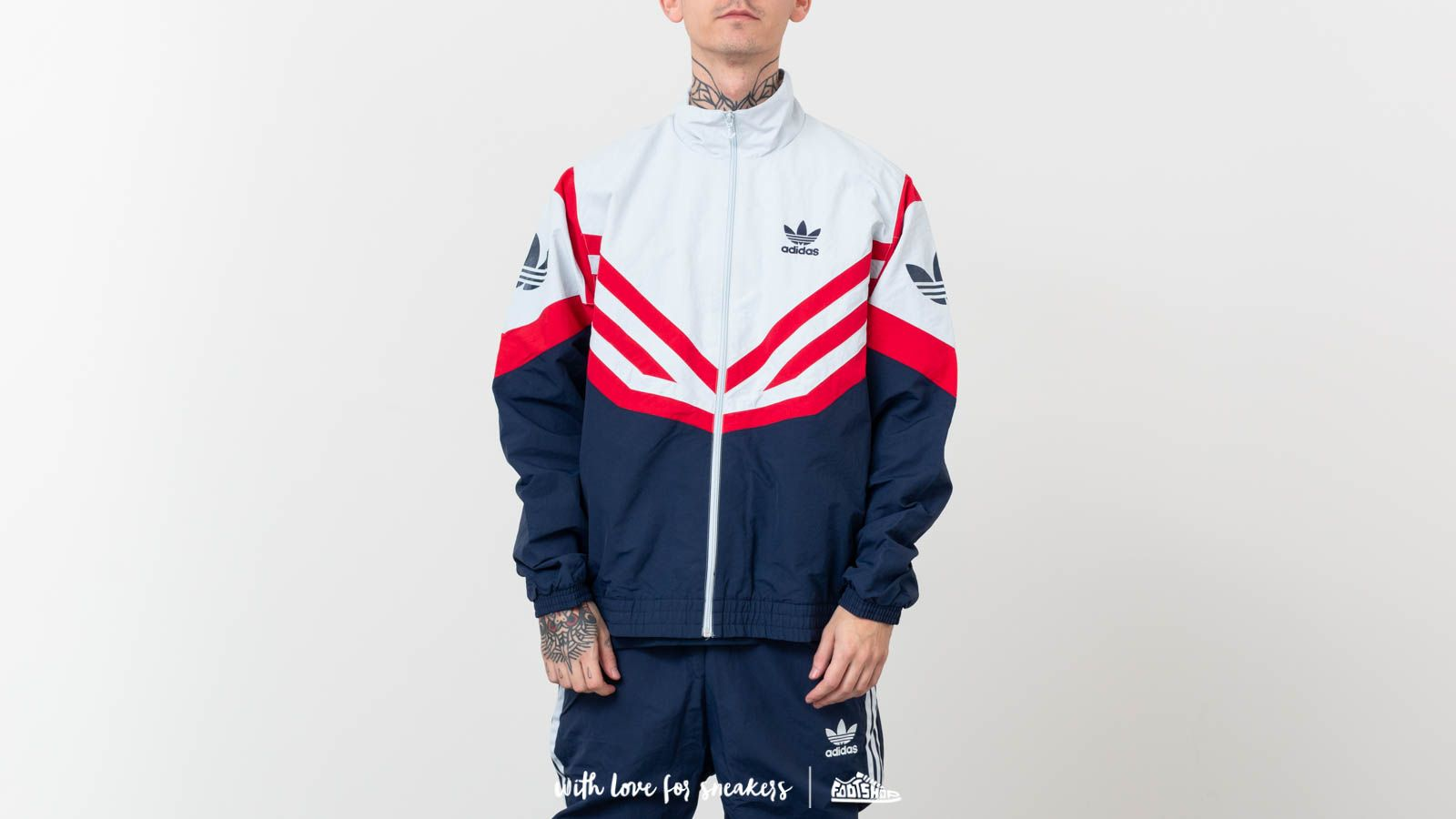 adidas Originals Sportive Track Top Jacket Light Gray  Navy at a great  price £95 77b76893b94a