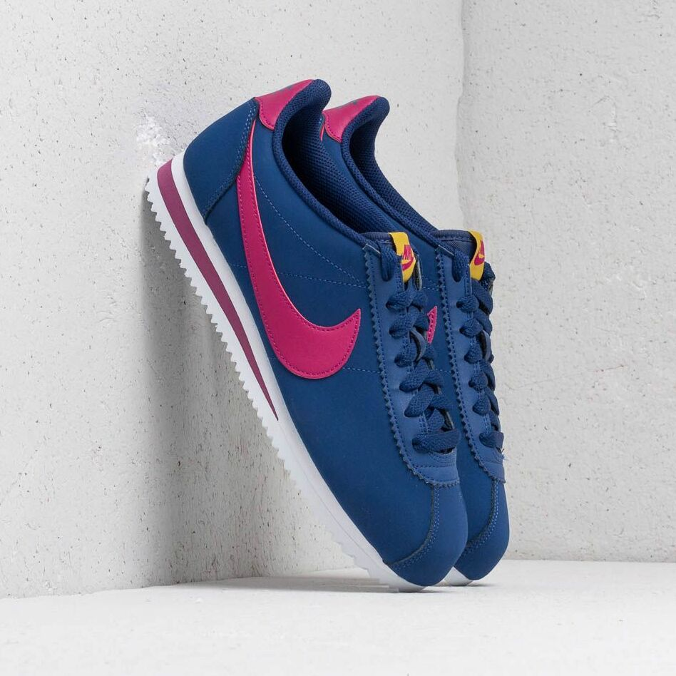 Nike Wmns Classic Cortez Leather Blue Void/ True Berry-Dark Citron-White EUR 38