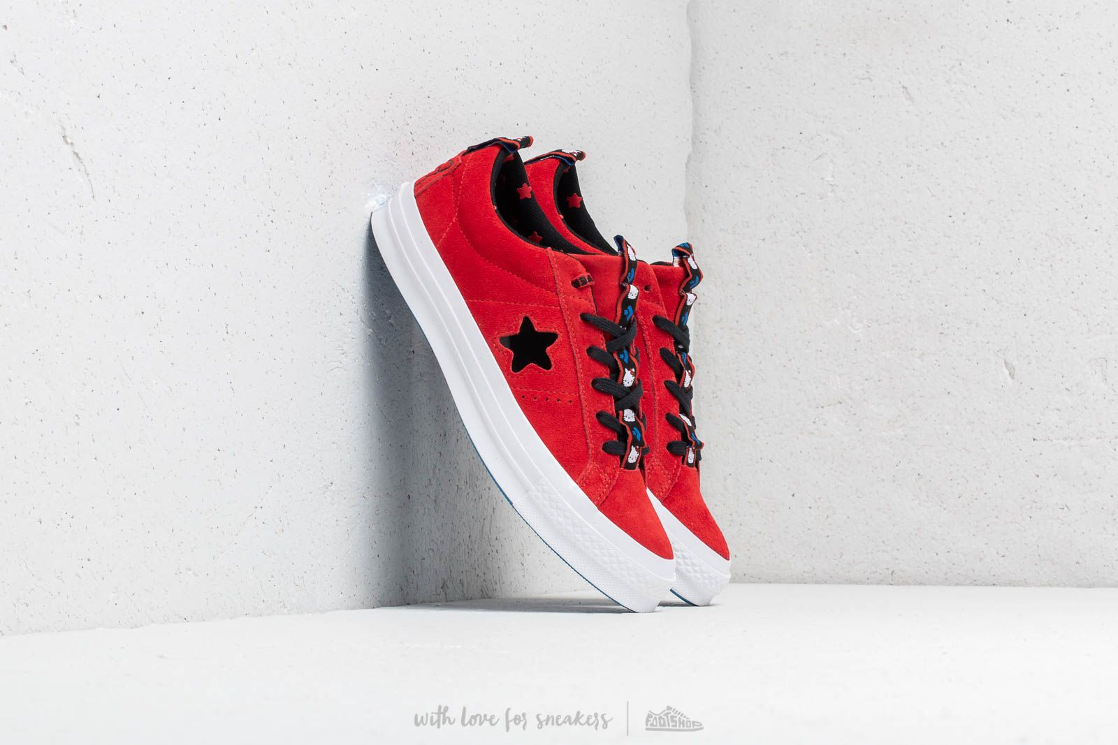 b4237f25e5a Converse x Hello Kitty One Star OX Fiery Red  Black  White at a great