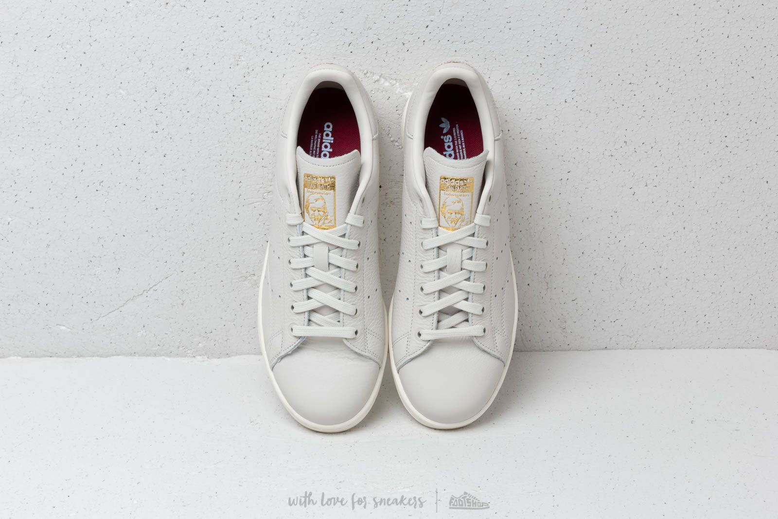 adidas Originals Womens Stan Smith Raw White, Collegiate Burgundy & Periwinkle