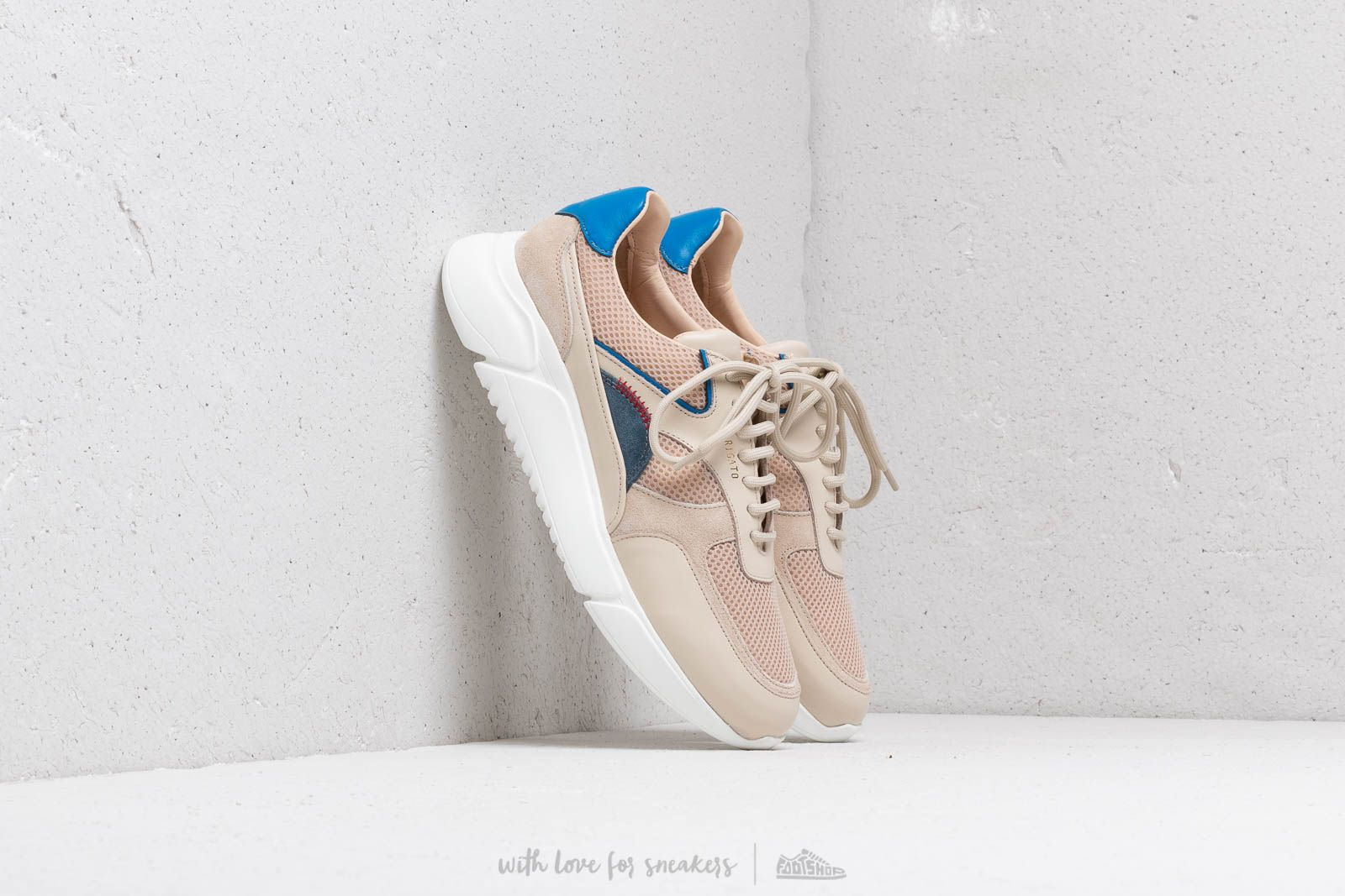 AXEL ARIGATO Genesis Sneaker Multicolored Leather Beige/ Grey/ Blue