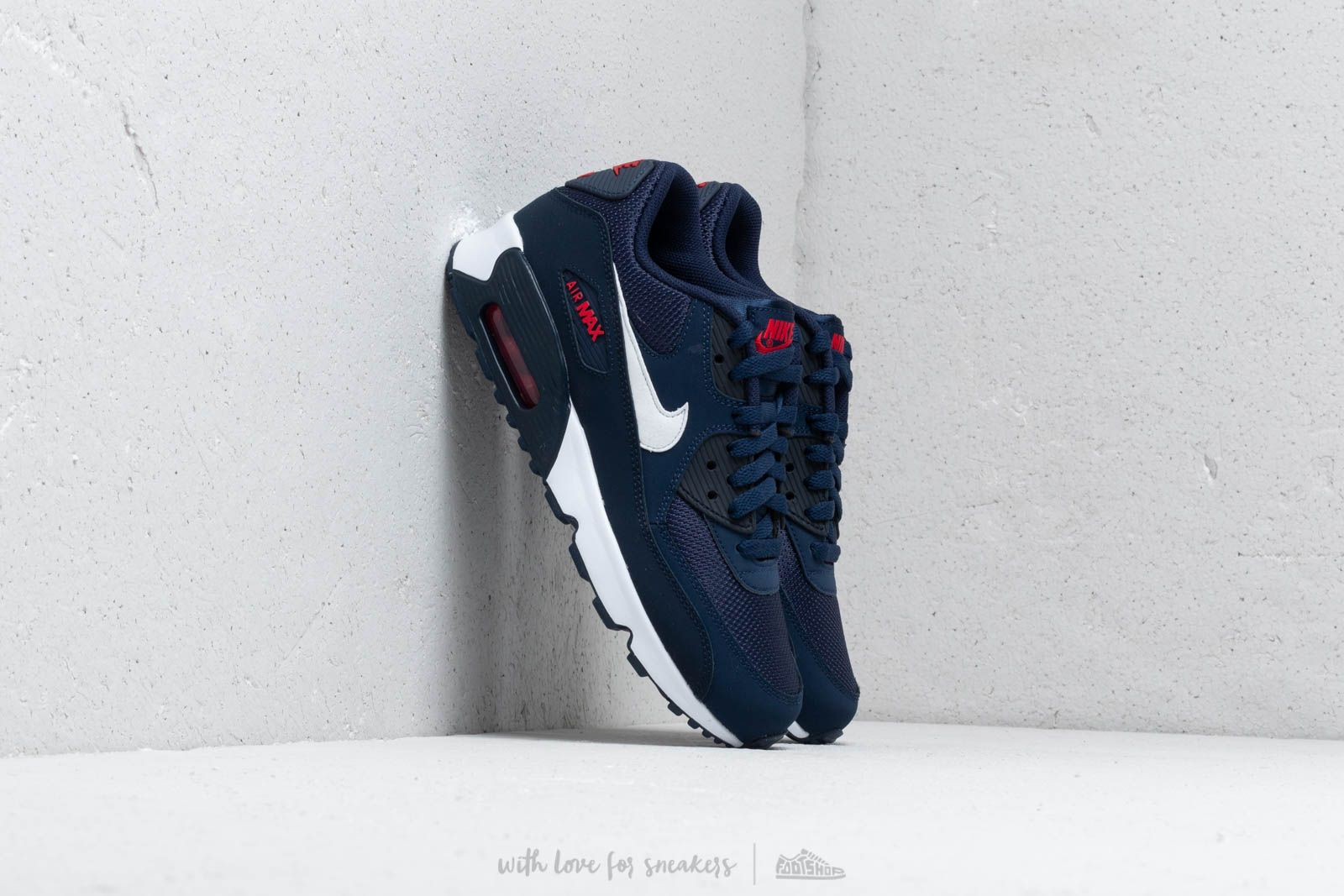 Nike Air Max 90 Mesh (GS)Midnight Navy White University Red