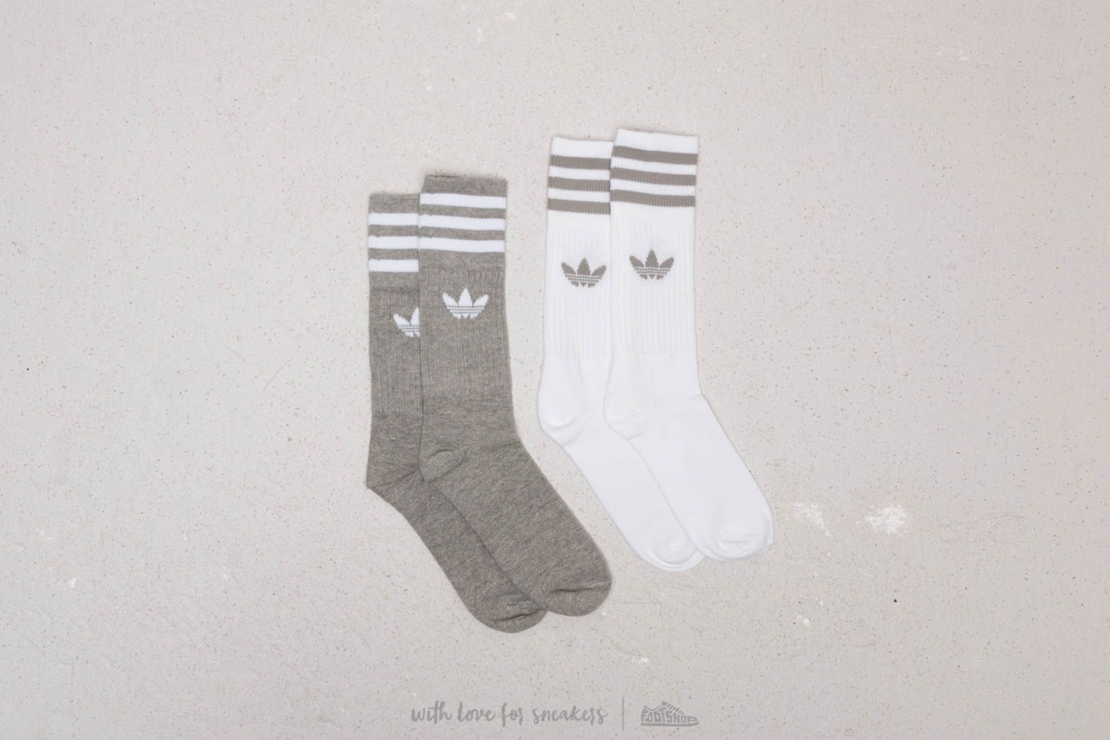 adidas Solid Crew Sock 2 Pack White/ Grey