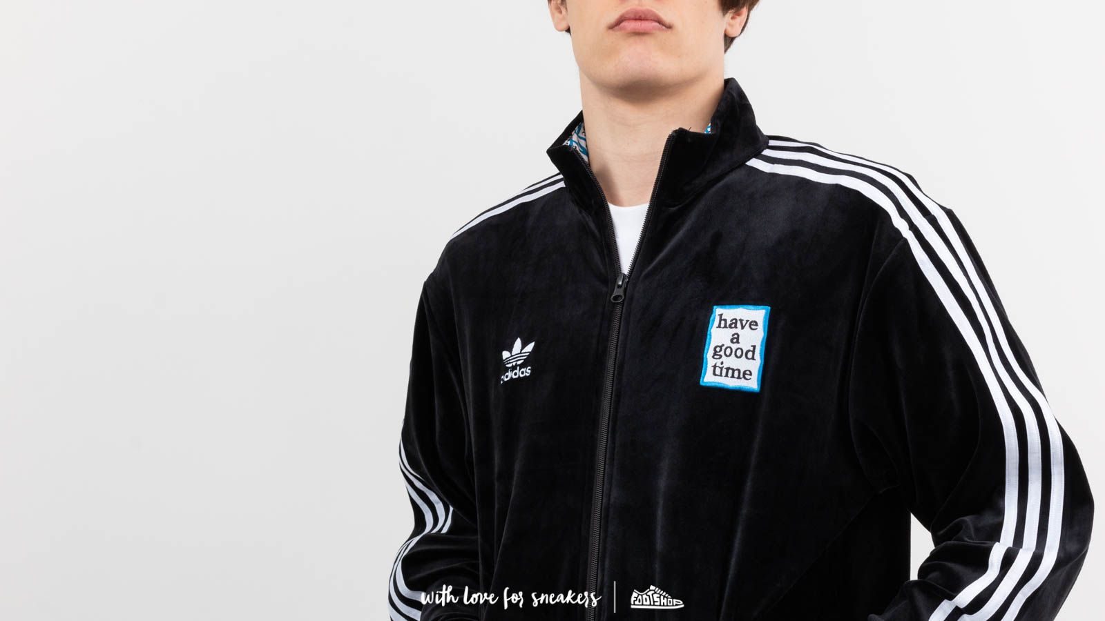 adidas x have a good time Velour Track Top Black | Footshop