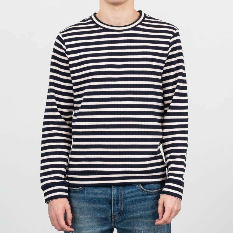 A.P.C. Mecano Ribbed Fleece Sweatshirt Dark Navy Blue