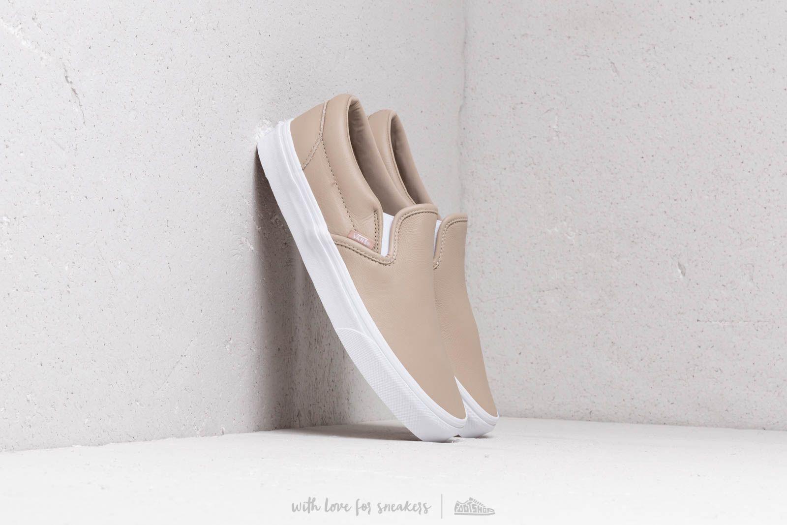 Pánské tenisky a boty Vans Classic Slip-On (Leather) Humus/ True White