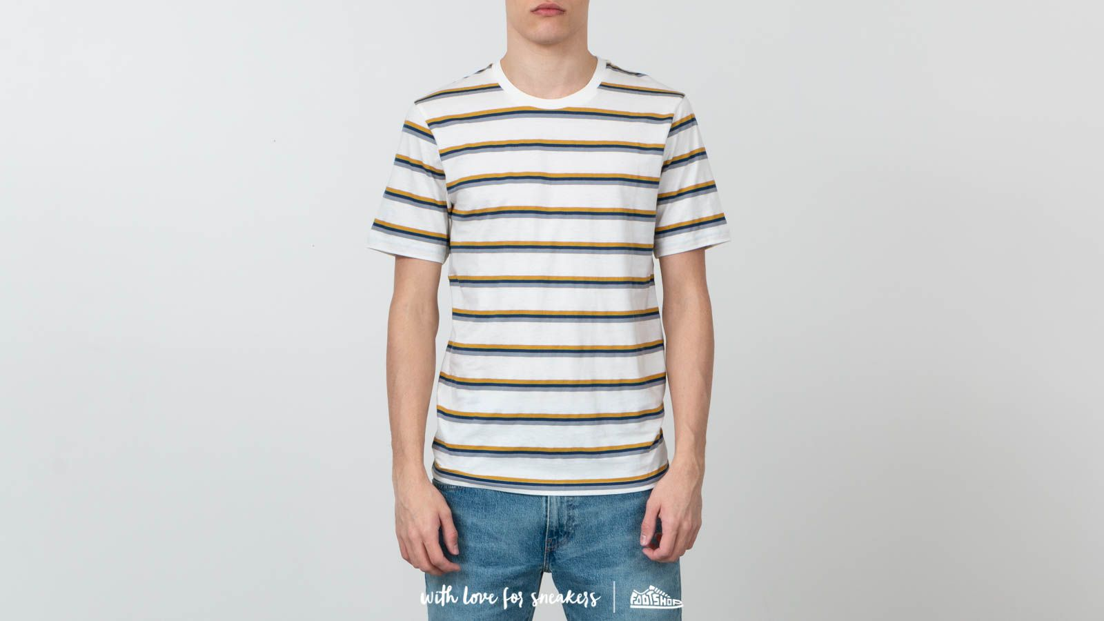 Tricouri și cămăși SELECTED Howard O-Neck Tee Egret/ Honey/ Navy
