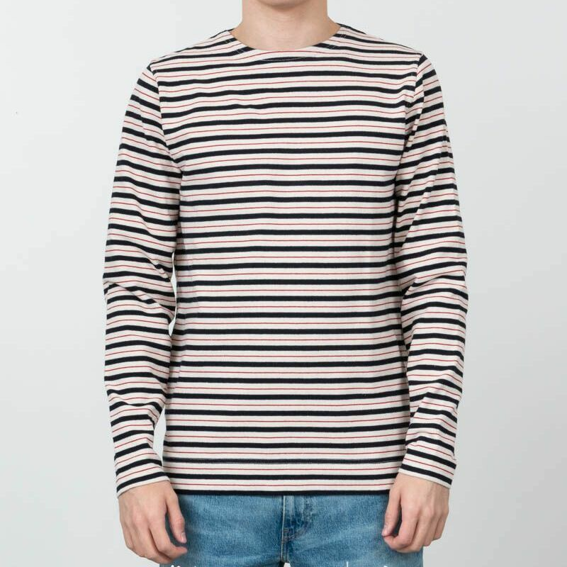 Norse Projects Godtfred Classic Compact Longsleeve Tee Multi Stripe Askja Red, Multicolour