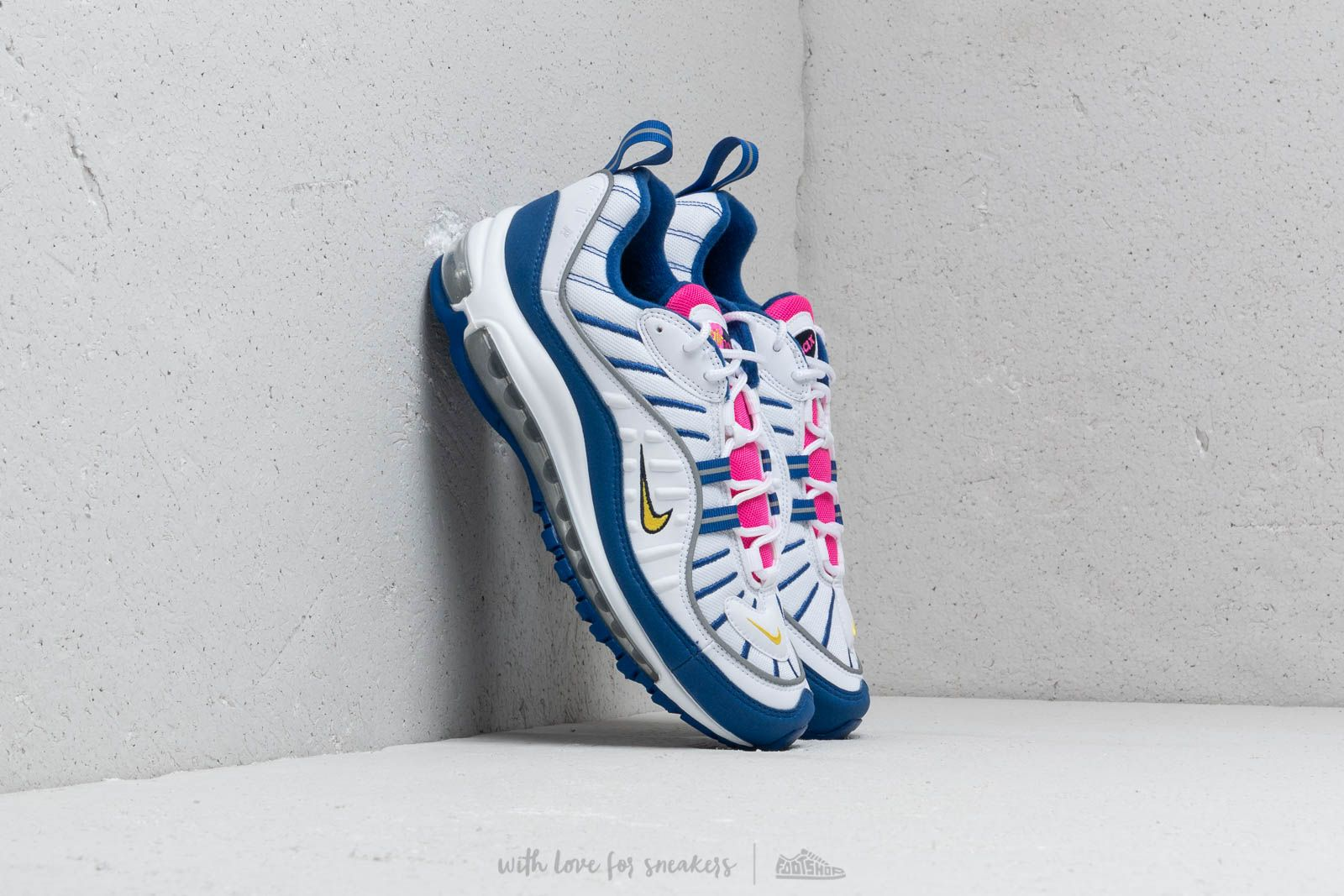 b9250c536af Nike Air Max 98 (GS) White  Amarillo-Indigo Force at a great