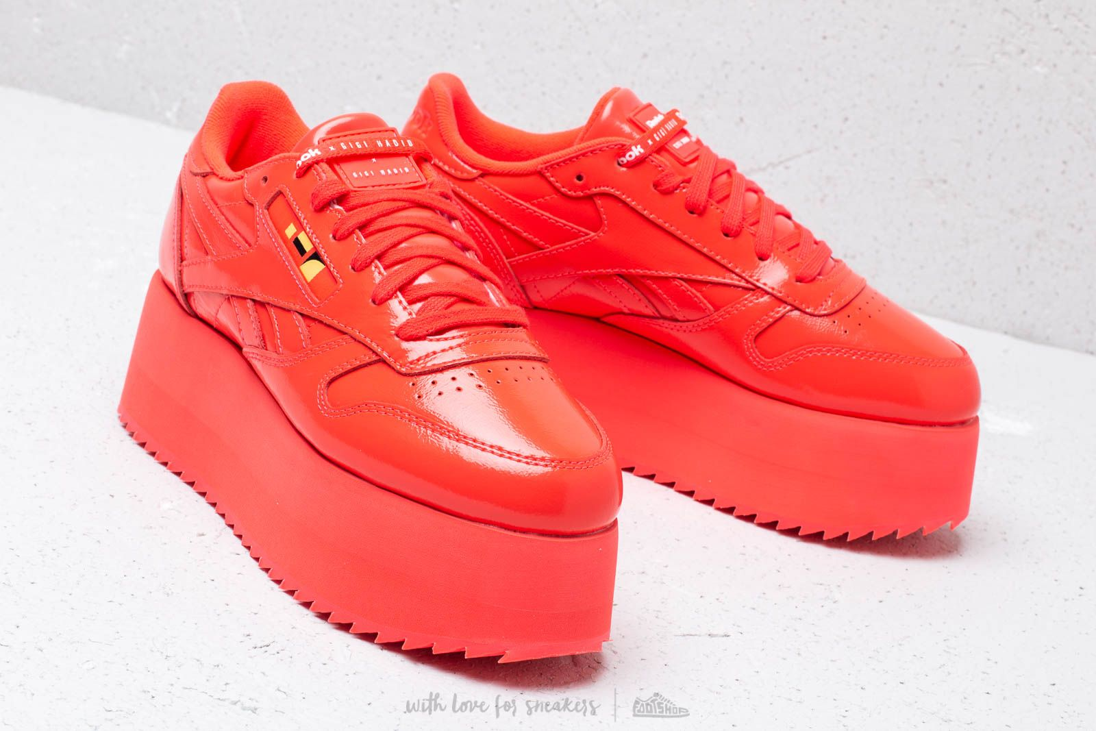 Reebok x Gigi Hadid Classic Leather Triple Platform Neon Red White | Footshop