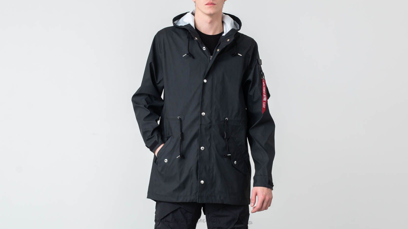 Pláštěnky Alpha Industries Fishtail Raincoat Black