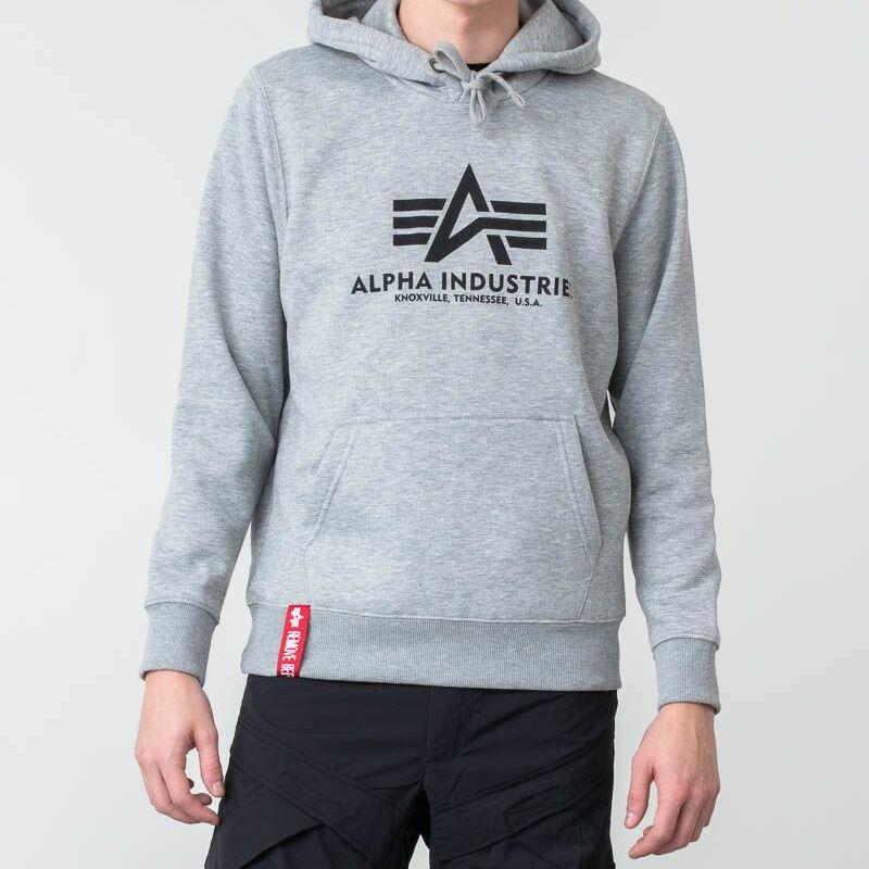 Alpha Industries Basic Hoodie Grey Heather, Gray