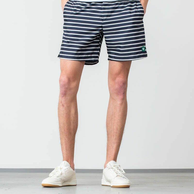 WOOD WOOD Roy Swim Shorts Navy/ Off White Stripe, Blue