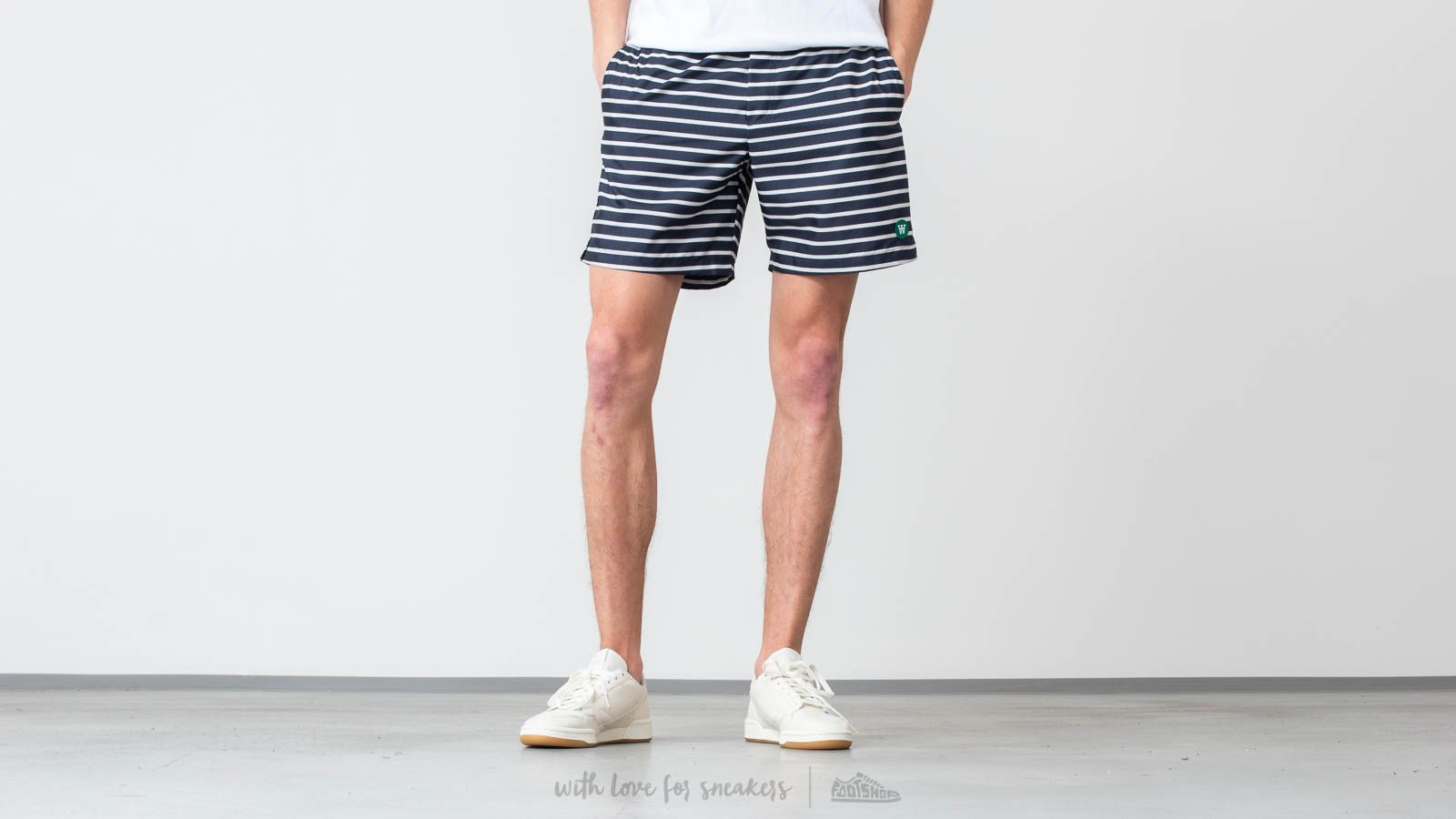 Kraťasy WOOD WOOD Roy Swim Shorts Navy/ Off White Stripe