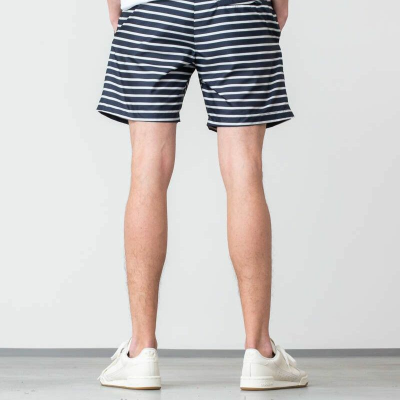 WOOD WOOD Roy Swim Shorts Navy/ Off White Stripe, Blue
