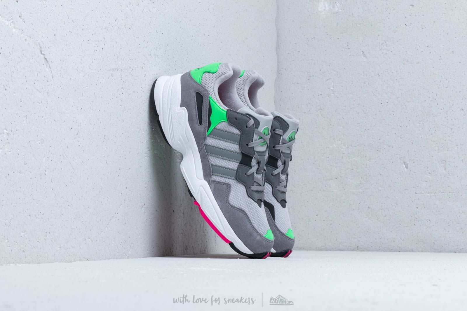adidas Yung 96 J Grey Two Grey Three Shock Pink | Footshop
