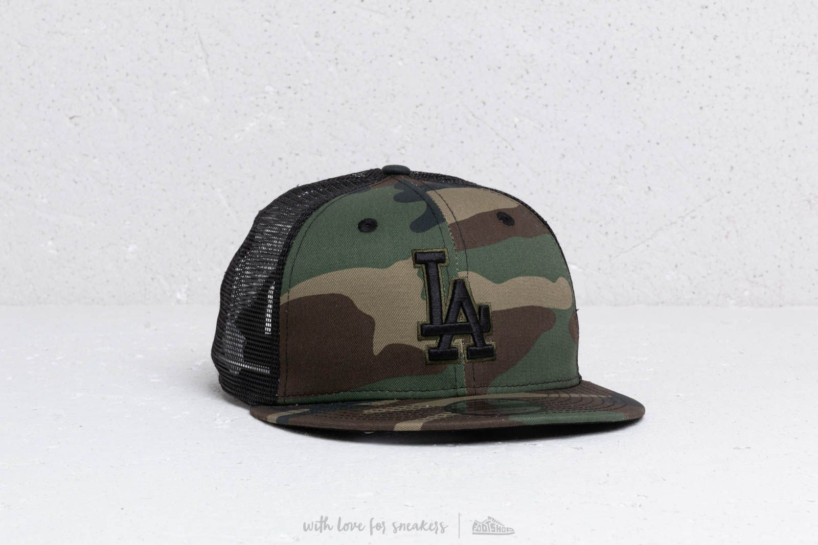 585f452f17a New Era 9Fifty A Frame MLB Essential Los Angeles Dodgers Trucker Cap Camo   Black at