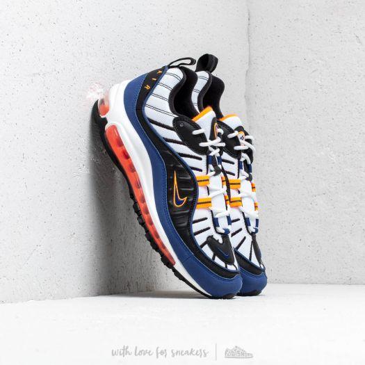 Nike Air Max 98 White Deep Royal Blue Total Orange Black | Footshop