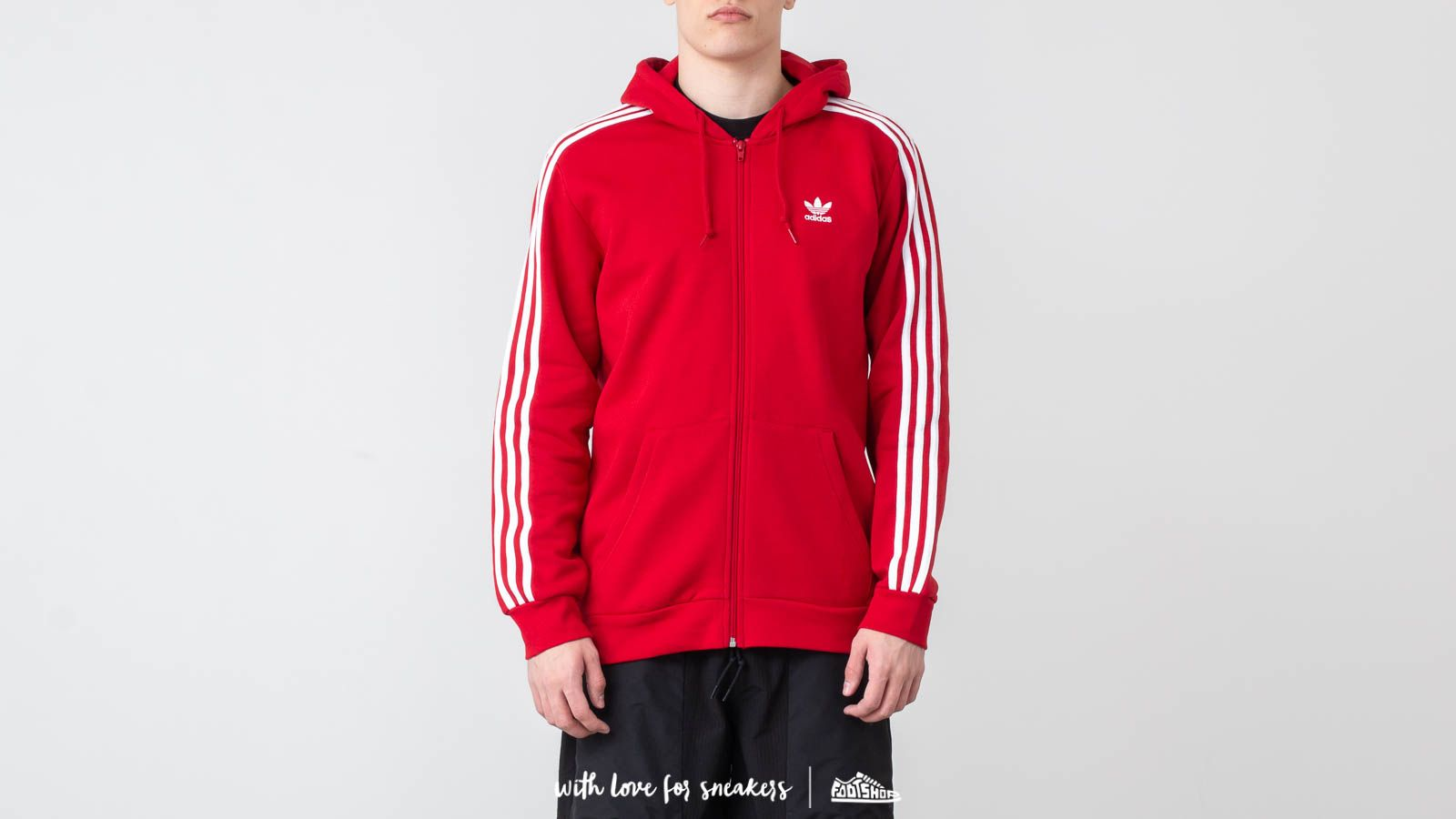 adidas Originals 3-Stripes FZ Hoodie Power Red | Footshop