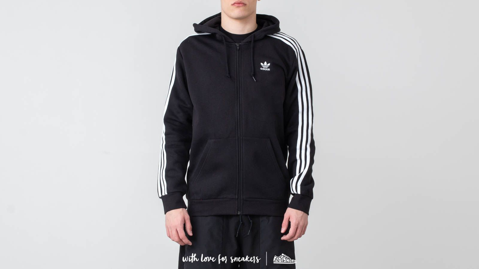 adidas Originals 3 Stripes FZ Hoodie Black | Footshop