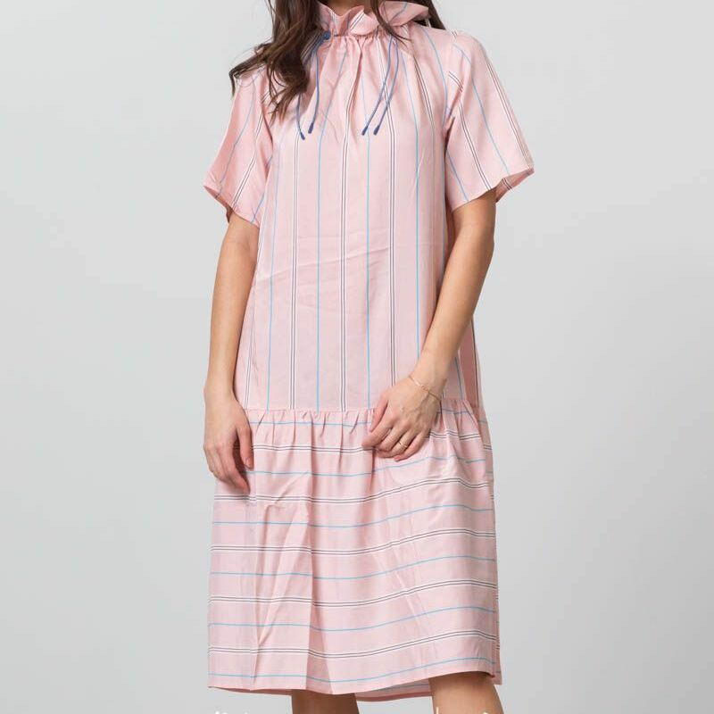 WOOD WOOD Delphine Dress Light Rose Stripe