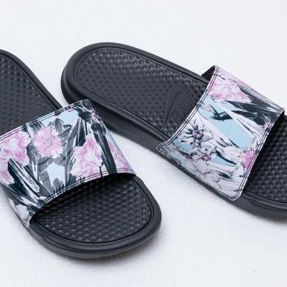 Nike Wmns Benassi Jdi Print Anthracite/ Topaz Mist-Pink Rise, Black
