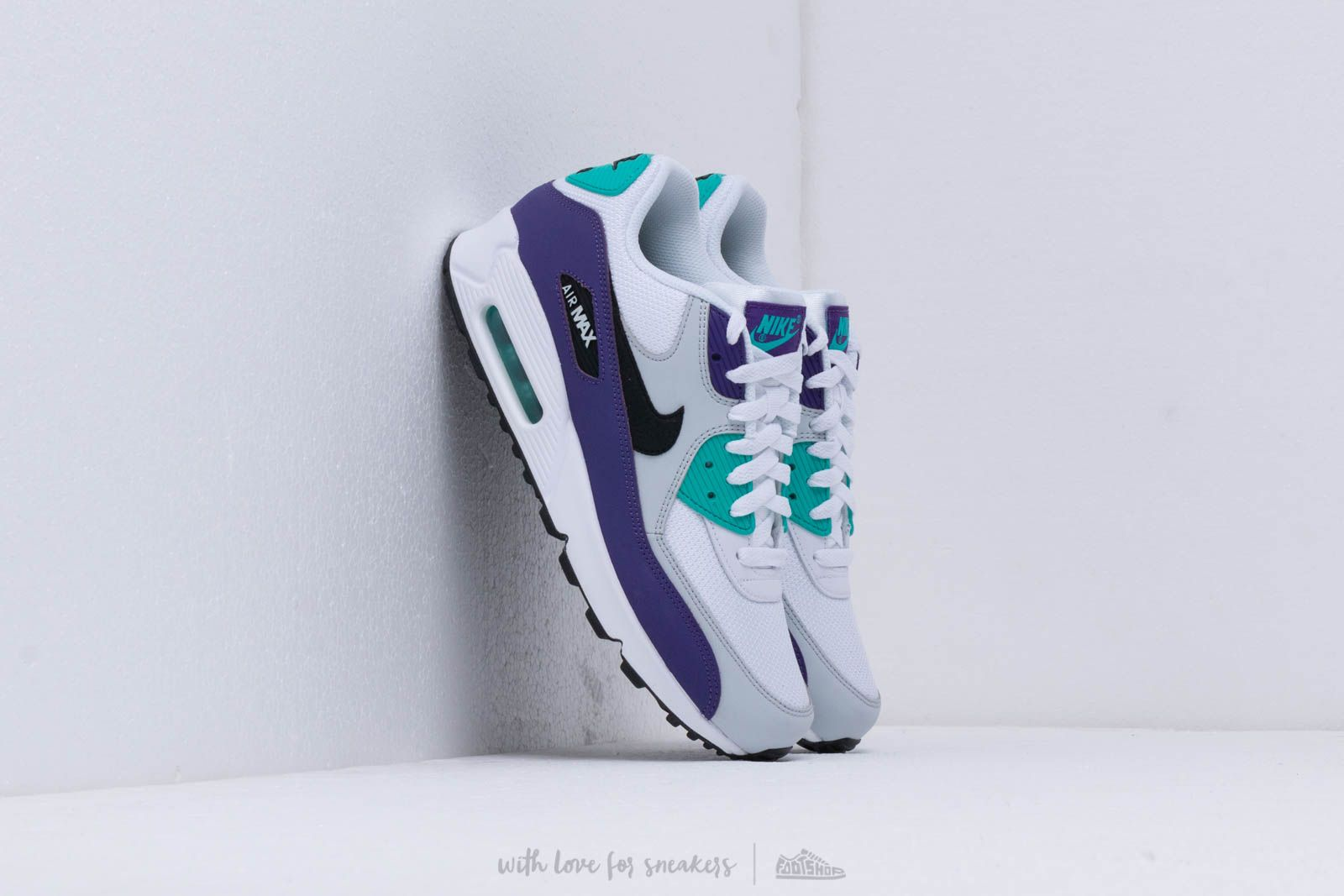 new style 41e64 9db10 Nike Air Max 90 Essential White/ Black-Hyper Jade-Court Purple W super