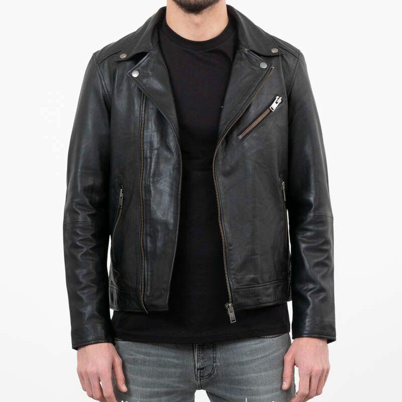 SELECTED B-02 Biker Leather Jacket Black