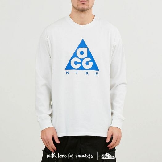 best new authentic latest Nike ACG Long Sleeve Logo Tee NRG Summit White/ Racer Blue | Footshop