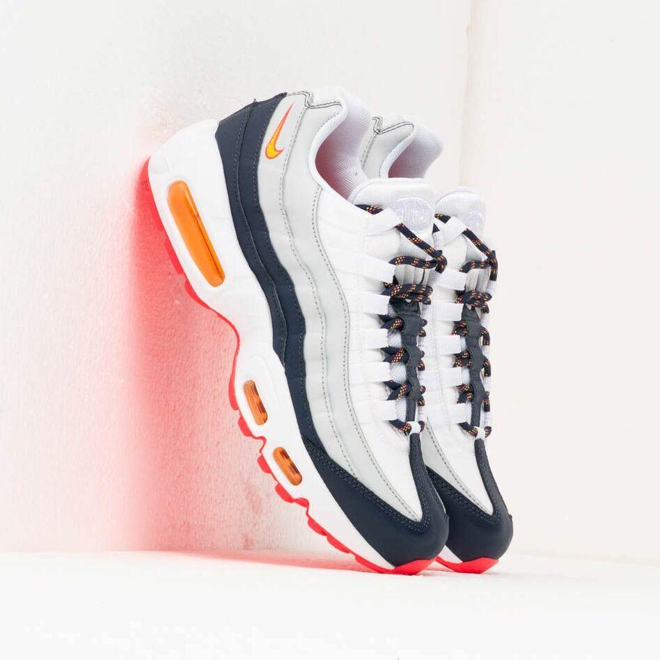Nike Wmns Air Max 95 Midnight Navy/ Laser Orange-Pure Platinum, Blue