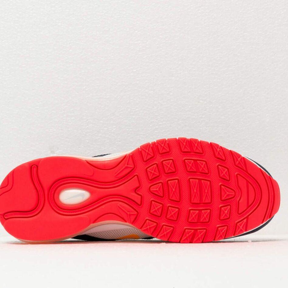 Nike W Air Max 97 Pure Platinum/ Laser Orange-Midnight Navy, Blue