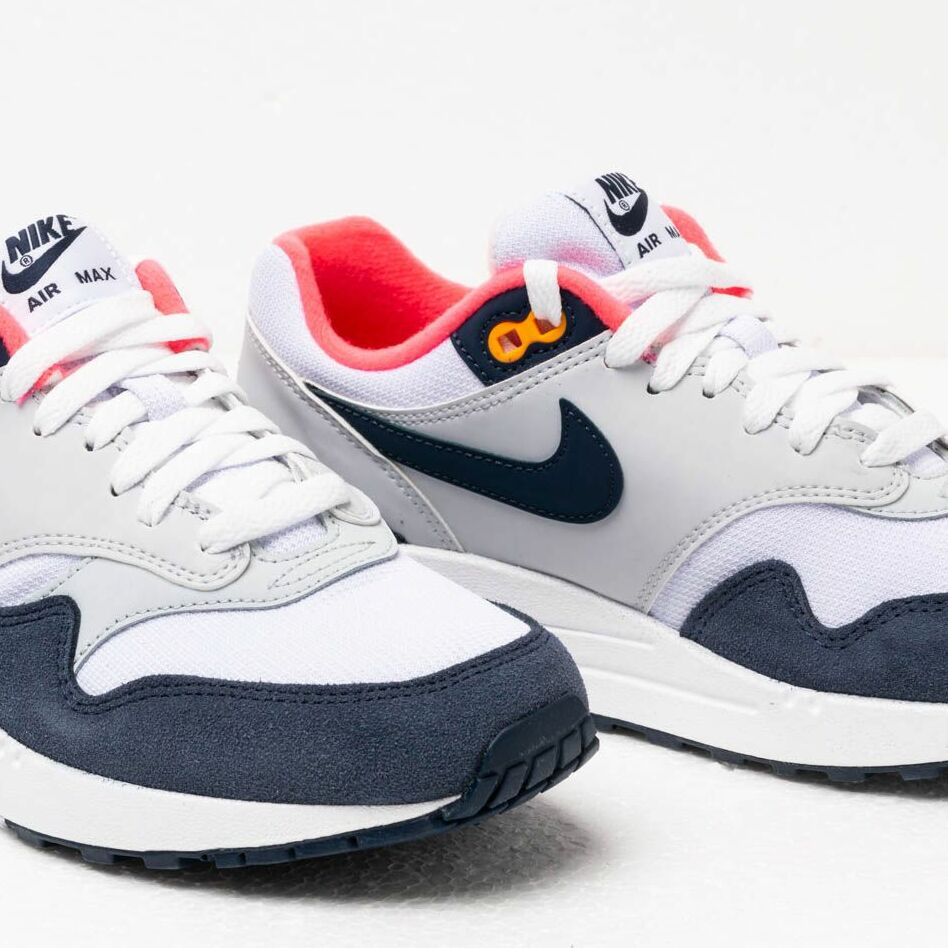 super quality skate shoes get new Nike Wmns Air Max 1 White/ Midnight Navy-Pure Platinum, Blue ...