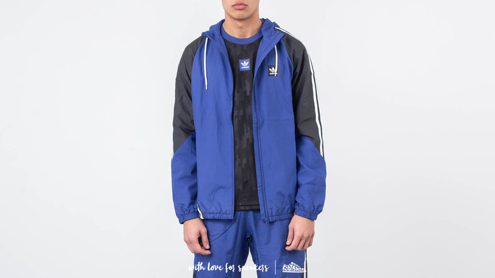Větrovky adidas Insley Jacket Active Blue/ DGH Solid Grey/ White
