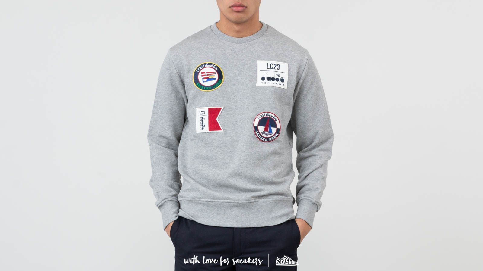 Diadora Sailing Patch Crewneck Light Middle Grey Melange at a great price 141 € buy at Footshop
