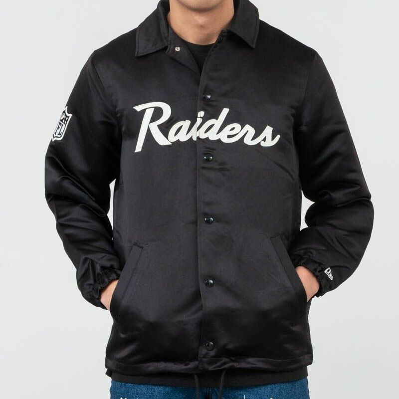 New Era NFL Satin Coach Jacket Oakland Riders Black