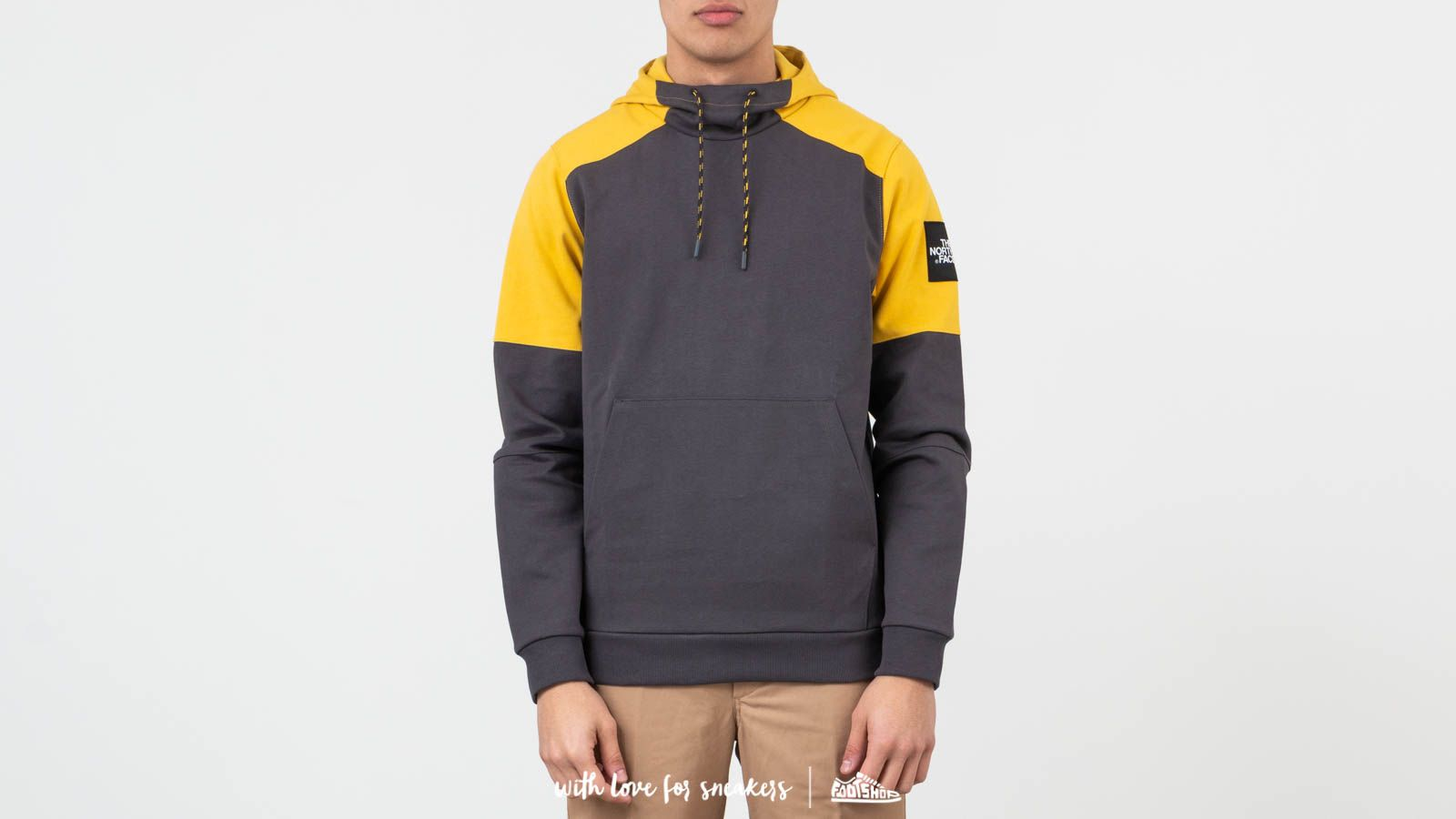 The North Face Fine Box Hoodie Asphalt Grey Yellow | Footshop