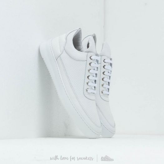 Filling Pieces Low Top Ripple Nappa Perforated All White