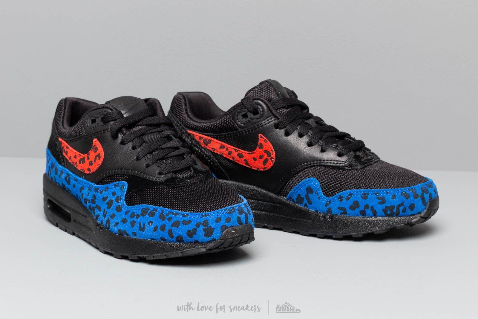 Nike W Air Max 1 Prm Black Habanero Red Racer Blue   Footshop