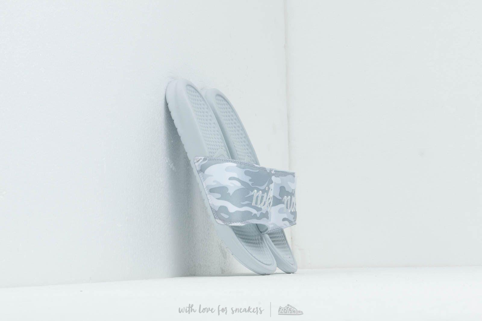 Dámské tenisky a boty Nike Wmns Benassi Jdi Txt Se Pure Platinum/ Mtlc Platinum-White