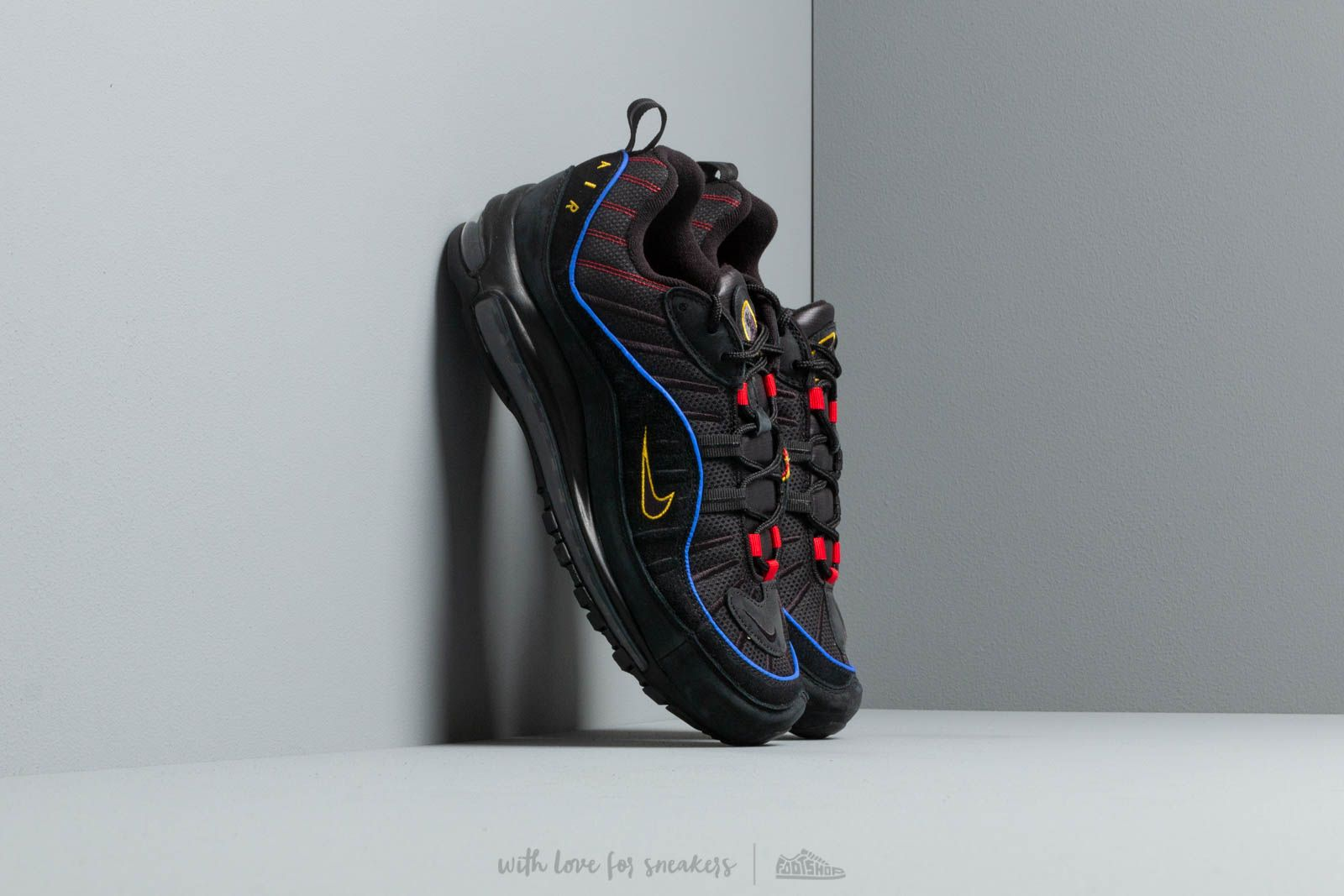 the best attitude 494d7 e3fa8 Nike Air Max 98 Black/ Black-Amarillo-University Red | Footshop