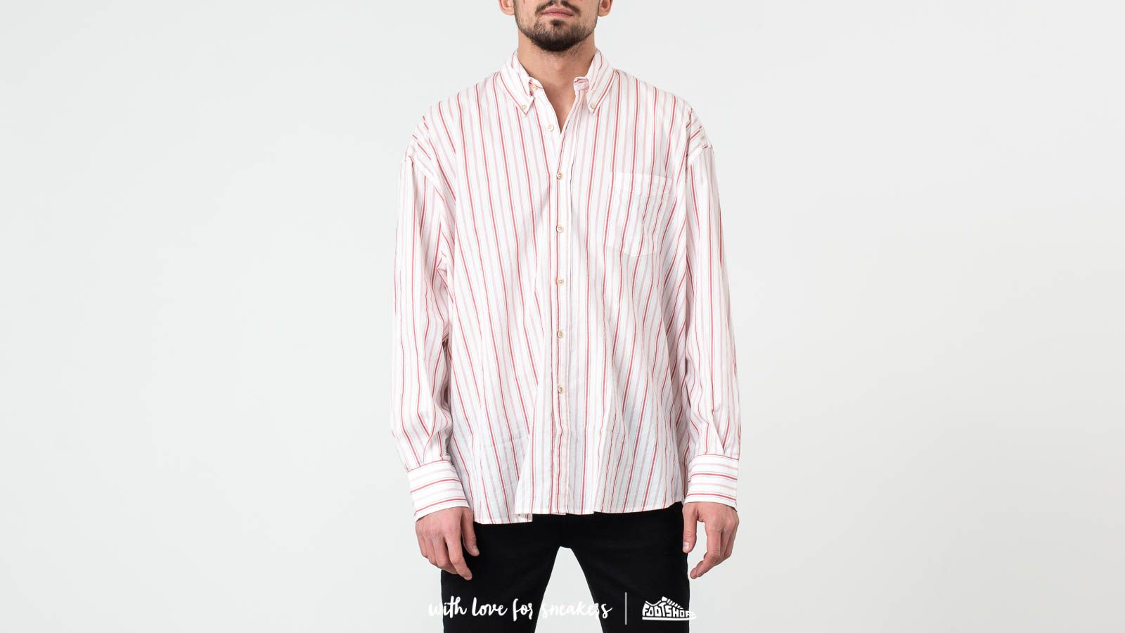 Košile Our Legacy Borrowed BD Shirt Printed Red Stripe