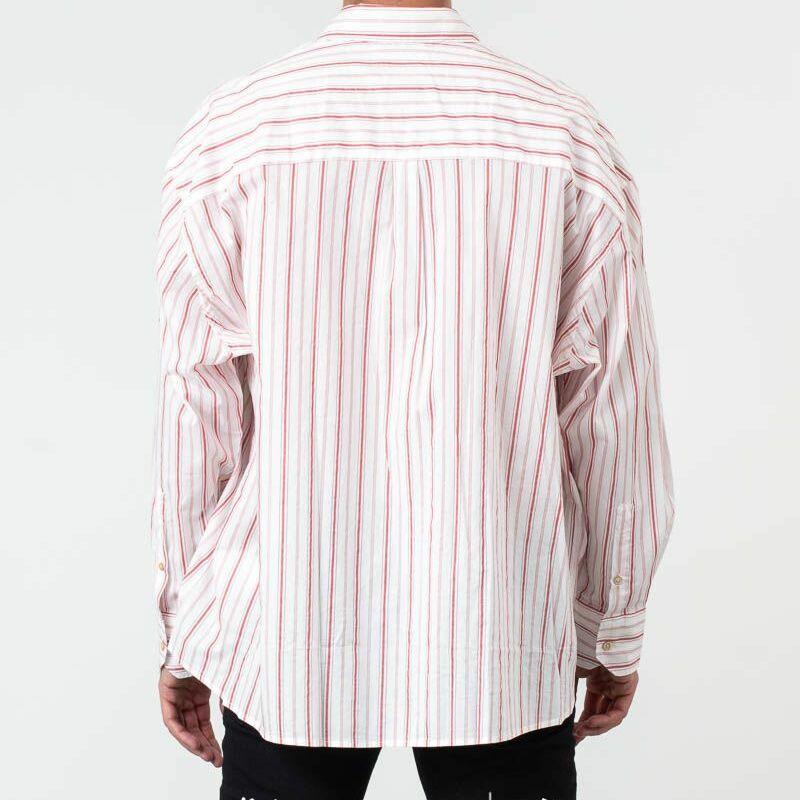 Our Legacy Borrowed BD Shirt Printed Red Stripe, White